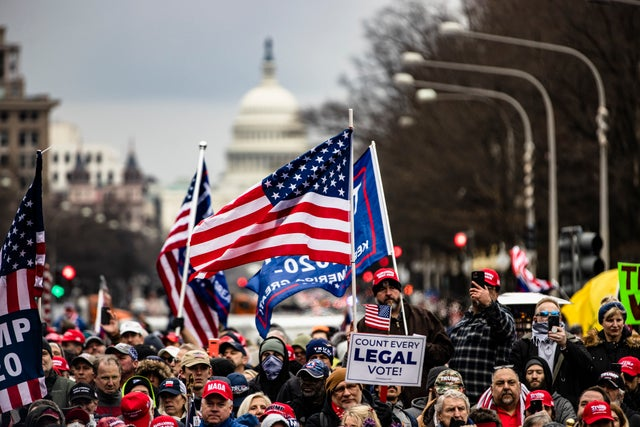 Hundreds of Trump supporters march in US capital against election fraud